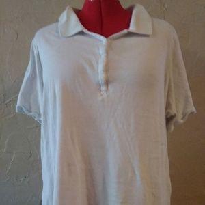 Lane Bryant 22/24 White Knit Polo T Shirt Top